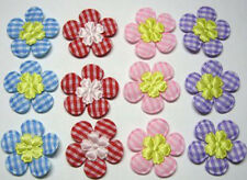 80 Mixed 28mm Padded Gingham Satin Flower appliques/Trim for Cards/Craft