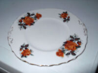 COLCLOUGH CHINA TWIN - HANDLED BREAD PLATE WITH A GOLD COLOURED ROSE PATTERN