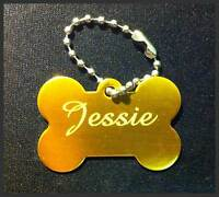 Personalised Custom Name ID Free Engraved Golden Silvertone Dog Puppy Pet Tags