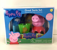 NEW Disney PEPPA PIG Great Smile GIFT Box SET Toothbrush Holder Rinse Cup Tray