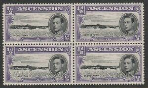 Ascension 1938-53 ½d Black & violet Perf 13 in block of four SG 38b Mnh.