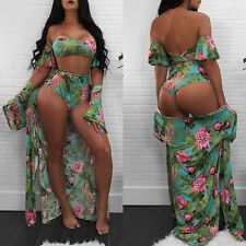 Swimwear Women Bikini Set Push-Up Swimsuit Beachwear Cover Up Cyan S CHC07