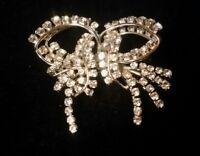 vintage high end claw set rhinestone bow design brooch made in Austria