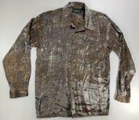 Pronti Mens Shirt Gator Print metallic Long Sleeve Button Up Club Shirt - L