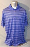 PGA TOUR Men's Blue Striped Golf Polo Shirt Size XLarge Short Sleeve