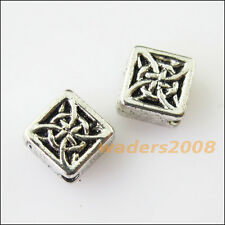 12 New Chinese Knot Square Charms Tibetan Silver Tone Spacer Beads 6mm