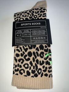 Urban Outfitters Cheetah Leopard Print Sports Socks Size 6 1.2-11 40-45 BNWT