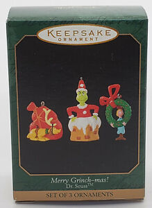 1999 Hallmark Miniature Keepsake Ornament ~ MERRY GRINCH-MAS ~ Dr. Seuss ~ NIB