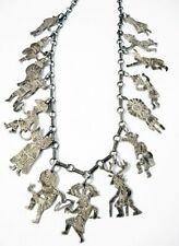 Vintage Sterling NECKLACE 15 Diff Detailed KACHINA Charms Pueblo Indian Spirits