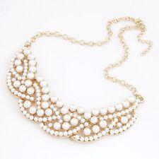 Collana di perle Catena Branello Collier Multistrato Treccia color oro NUOVO