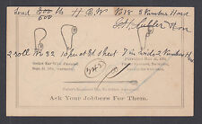 US Sc UX5 1890 Advertising Postal Card, Earring Parts Manufacture, Pawtucket, RI