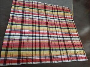 Vintage Cotton Multi color Plaid Tablecloth 52x49 Red purple black