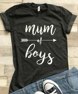 Mum of Boys Unisex T-Shirt XS - 2XL Fun text Mothers Day Gift Birth Announce