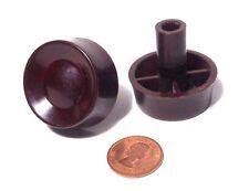 "(2x) Vintage Retro Deco Radio Knobs Brown Plastic Push-On 1/4"" Spline Shaft -NOS"