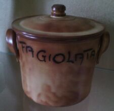 "pentola in terracotta con coperchio con digitura ""fagiolata"" 15,5*18 cm diametro"