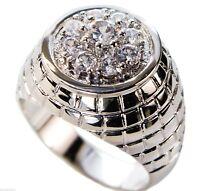 2.45 carat 9 stone cluster 18k white gold overlay mens ring size 14