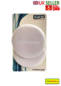 Sure Manicure Compact Face Powder Puffs Velour And Satin Travel Cosmetic Make Up