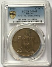 1930 Iceland 1000 Years Althing 2 Kronur Bronze Coin PCGS MS64