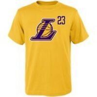 NBA YOUTH LEBRON JAMES  LOS ANGELES LAKERS NAME & NUMBER TEAM T-SHIRT #23 NEW