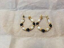 Avon Black Onyx & Freshwater Pearl Hoop Earrings