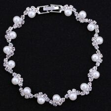 Crystal Bridal Women Link Chain Bangle Bracelet Jewelry