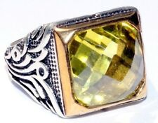 925 Sterling Silver Men's Ring with Absolutely Handmade Real Peridot