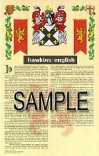 HAWKINS Armorial Name History - Coat of Arms - Family Crest GIFT! 11x17