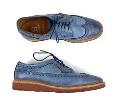 Allen Edmonds Mens Shannon Drive Oxford- Blue Leather Wingtip Shoes Size 8.5 D