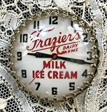 "VINTAGE ADVERTISING CLOCK FACE Glass BUTTON 1 1/4"" Frazier's ICE CREAM Dairy"