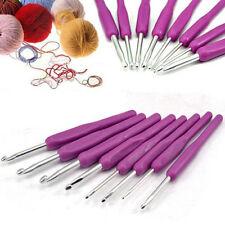 8x Soft Plastic Handle Aluminum Crochet Hooks Knitting Needles Weave Craft Yarn
