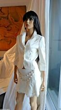 TO DIE FOR BEBE linen blend ivory jacket and skirt suit $270 size 4