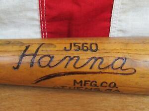 "Vintage 1930s Hanna Mfg Co.Wood Baseball Bat J560 Model Athens,GA 33"" Antique"
