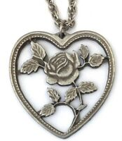 VINTAGE HEART NECKLACE PENDANT ROSE FLOWER SILVER TONE METAL COSTUME JEWELRY