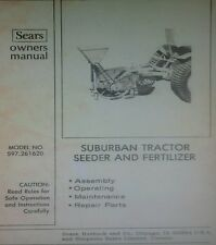 Sears Suburban Garden Tractor Seeder Fertilizer Owner & Parts Manual 12p 3-point