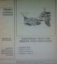 Sears Suburban Garden Tractor 3 Point Seeder Amp Fertilizer Owner Amp Parts Manual