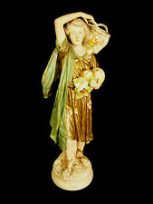 SIGNED ROYAL DUX FIGURINE – BOY GLEANING THE HARVEST – PINK TRIANGLE MARK C 1910