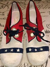 "Vintage 1960's 1970's Red White Blue Suede Shoes W/ Stars 10 1/2"" L By  3 1/2"" W"