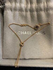 New Genuine Michael Kors Rose Gold Pink Jewelled Slider Bracelet MK Gift Pouch