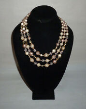 Vintage Multi Strand Faux Pearl Plastic Bead Fashion Necklace Japan - FN0082