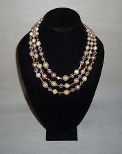 Vintage Multi Strand Faux Pearl Plastic Bead Fashion Necklace Japan - FN0082