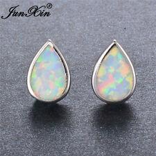 JUNXIN Flame Heart White Opal Stud Earrings Womens 925 Silver Wedding Jewelry