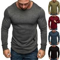 Herren Langarm T-Shirt Slim Runder Saum Freizeit Sport Fitness Sweatshirt Hemd