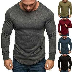 Mens Gym Sports Muscle Long Sleeve T-Shirt Workout Fitness Slim Fit Top Tee