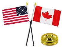 "Canada Canadian w/ USA American Flag 4""x6"" Desk Set Table Stick Gold Base"