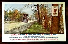 CASE STEAM ROLLER BUILDING COUNTRY ROADS Advertising Postcard c.1909 Nice