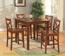 """36"""" square dinette pub counter height kitchen table no chair cherry brown finish"""