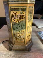 vintage COLMANS mustard large tin lamp Rare