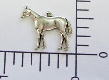 Horse Charm Brass Jewelry Finding 40094 2 Pc Matte Silver Oxidized