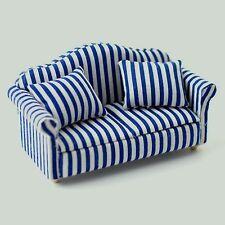Blue & White Striped Sofa, Dolls House Miniature, Furniture settee 1.12 Scale
