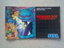 Wonder Boy In Monster World Manual - Sega Mega Drive - NO GAME MANUAL ONLY (PAL)